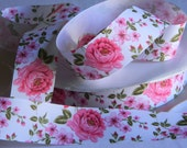 """Floral Print Ribbon 5 yards 1.5"""" White Grosgrain Ribbon w/ Hot Pink  Flowers Security Blanket Wedding Baby Shower Favor Ties Valentines Day"""