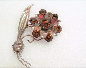Vintage Sterling Silver Flower Brooch Topaz Color Rhinestones Flower Pin
