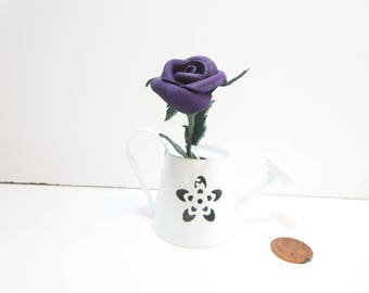 Purple rose -Miniature leather red rose- miniature stem rose -Leather rose - Wedding- 3rd Anniversary Gift -Sexy Flower Valentines Day
