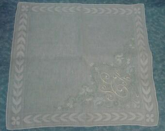 Vintage Hanky,Handkerchief, Exceptional Hand Embroidery,Applique Unused Triple Monogram