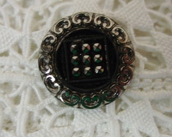 Antique Black Glass Button Silver Luster, Great Detail, Square 4 Way Shank
