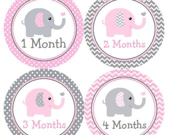 Baby Month Stickers Pink & Gray Elephant Monthly Belly Labels from 1 to 12 Months in Pink and Grey Chevron and Polka Dots for Baby Girl