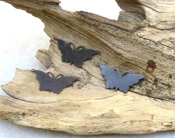 Butterfly Blanks - Antiqued Natural Brass - 2 Pieces