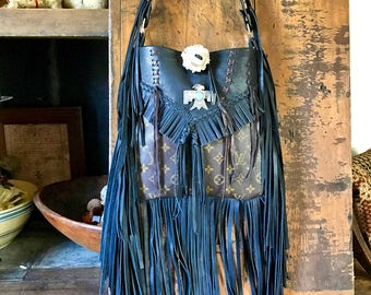 Beautiful black leather and Louis Vuitton fringe bag /Bohemian /gypsybag