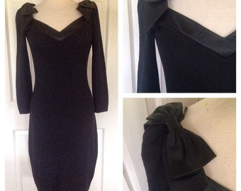 70s Black Knit Sweater Dress with Bows