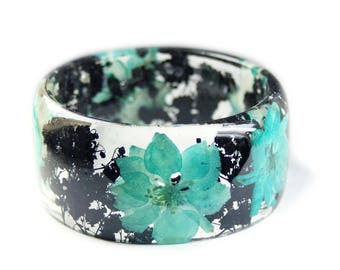 Teal Flower Bracelet -Real Flowers  - Real Flower Jewelry- Flower Jewelry -Teal Flower Jewelry-  Jewelry made with Real Flowers