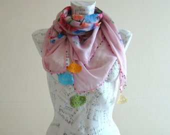 Summer scarf square cotton scarf cotton flower scarf crochet pink scarf pareo wrap beach pareo cotton pareo summer scarfs crochet edge