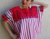 "Chiapas hand-embroidered huipil/blouse red striped over-all floral hot pink boho Frida Kahlo 32"" w x 23""'long #C"