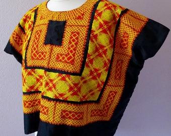 "Classic Mexican Tehuana huipil blouse black satin cadinella yellow red boho Frida Kahlo costume - LRG 25 1/2"" W x 20"" L"