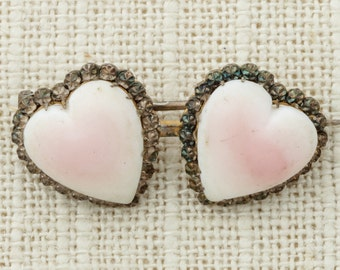 Pink Heart Brooch Vintage White Art Deco 1920s 20s Broach Costume Jewelry   Vtg Pin 16E