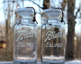 2 Ball ECLIPSE SQUARE QUART Jars w/ Metal Bail & Glass Lids - c.1926-1929 ~ Farmhouse Kitchen ~ Pantry Storage - Insurance w/Shipping