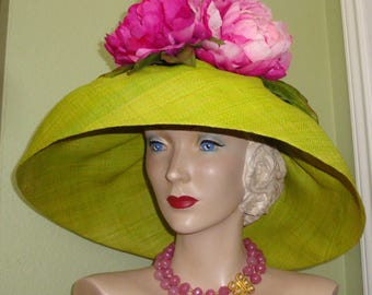 SALE Pink PEONIES  Raffia HAT Custom Designer Chartruese Green Floral Wide Brim Derby Ascot Garden Party, Church, Easter, Wedding, Dress Hat