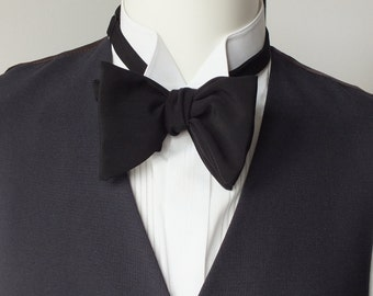 Black bow tie, men's, fuller style bowtie - freestyle bow ties for men / bow tie for him, self tie men's bowtie.