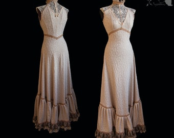 Art Nouveau style gown, beige, romantic wedding gown, victorian, Somnia Romantica, approx size medium, see item details for measurements