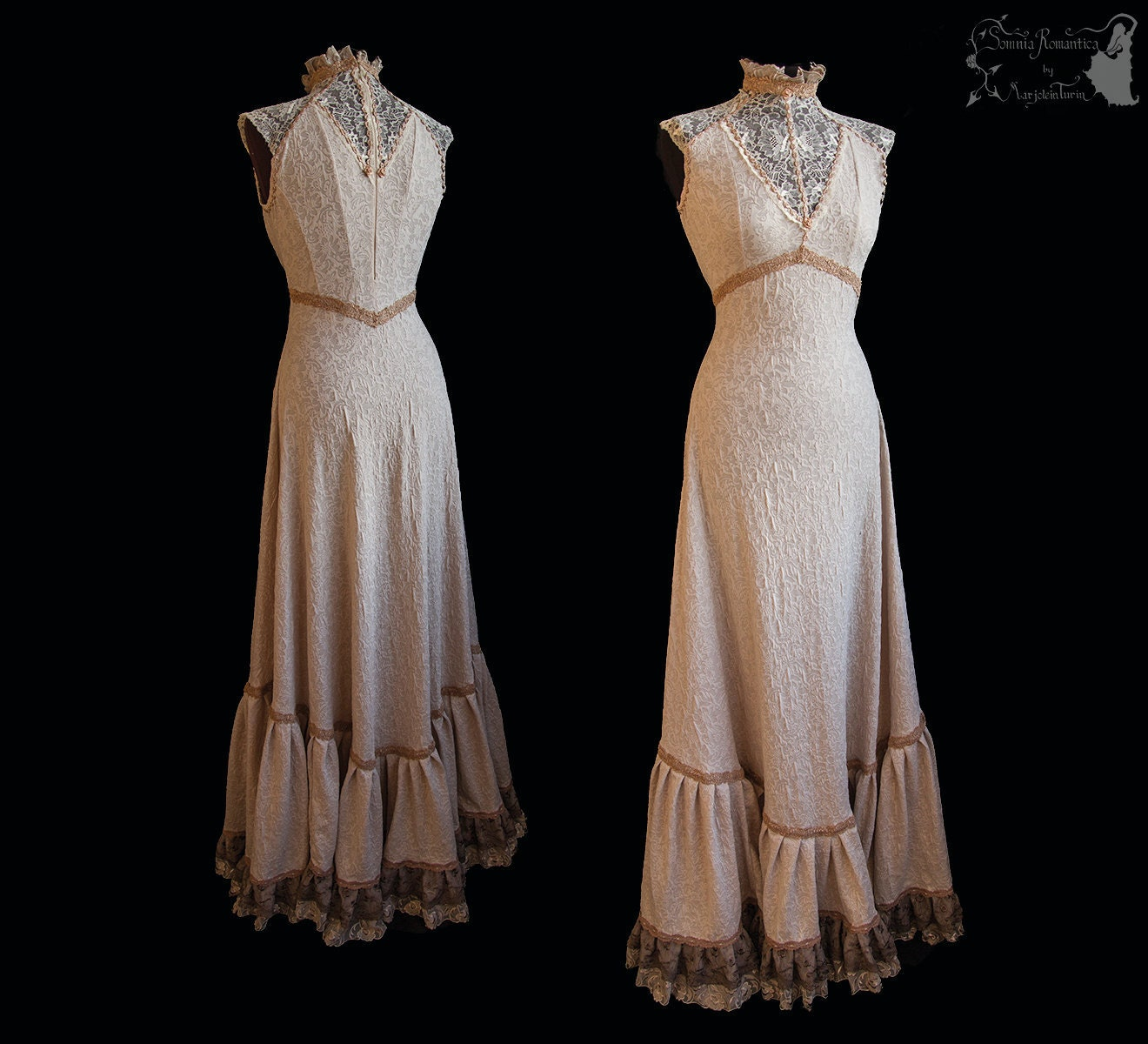 Art Nouveau Gown Beige Romantic Wedding Gown Victorian