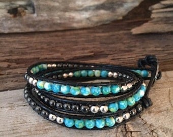 3 wrap Leather Bracelet made Turquoise, Hematite and Tibetan Siver 4mm beads.