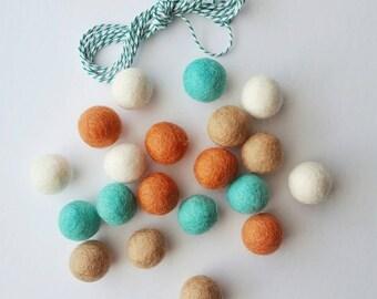 Felt Ball Garland Kit Aqua Tan Burnt Orange Cream DIY Garland 20 2.5 cm Felt balls + 3 yds Twine