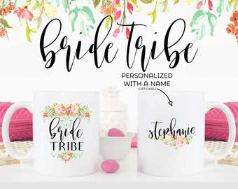 Bride Tribe Gift Mugs Personalized with your Bridesmaid or Maid of Honor Names | Wedding Party Favor | ARW1