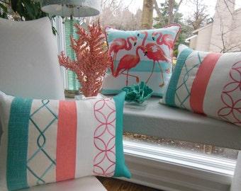 Aqua Coral Color Block Pillow - Coral Embroidery Pillow - Aqua Modern Pillow - Designer Pillow Leather Linen Suede Texture Embroidery Pillow