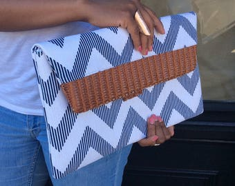 White Canvas Fabric with Navy Chevron Printed Oversized Clutch Bag