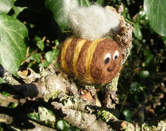 Bee - Needlefelted little woolly bumble bee for Summer or a bee keeper.