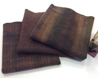 French Roast, 3) Fat Quarters, Hand Dyed Wool for Rug Hooking and Applique, W331, Dark Brown Wool Textures