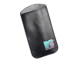 vintage 80s MTV neon logo suglasses case eyeglasses case rare 1980 collectible Music Television MTV blue pink logo