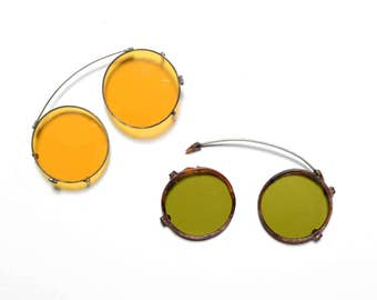 vintage 20s 30s round sunglasses clip on yellow green lens motorcycle night driving steampunk Art Deco 1920 1930 glasses
