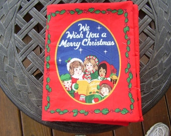 We Wish You a Merry Christmas Figgy Pudding Quiet Soft Fabric Baby Toddler Story Book Handmade Ready to Read