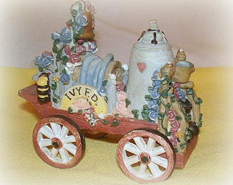 Fire Dept.  Pumper Figurine by Ivy & Innocence Pumper No. 2 Vintage Collectible WheelsTurn Well Detailed Home Decor Table Decor