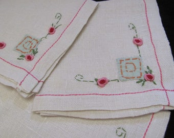 "Set of 6 Vintage Small Linen Cotton Luncheon Tea Napkins 10"" (#59)"