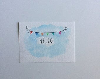 Hello Watercolor Painting