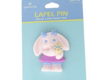 Hallmark Easter Hat Lapel Pin Pink Easter Bunny with Easter Egg