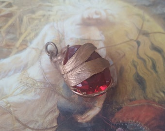 Vintage RARE Fuchsia Art Deco Czech Glass UPCYCLED Dragonfly Pendant