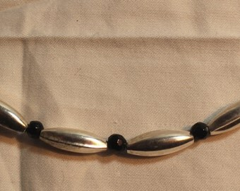 Sterling Silver and Black Glass Bead Necklace