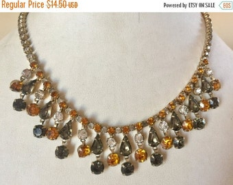SPRING SALE Vintage Shabby Chic Orange Clear and Smoky Gray Rhinestone Dangle Necklace