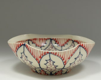 Small Wheel Thrown Handmade Ceramic Bowl with Navy, Red and Purple Pattern