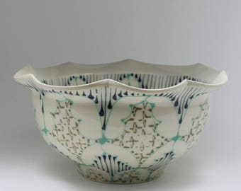 Handmade Wheel Thrown Ceramic Bowl with Jade, Navy and Green Pattern