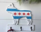 Frenchie Chicago Hook Bulldog Leash Collar Hook Chicago Dog Leash Hook Chicago Flag Dog Leash Holder Chicago Lover