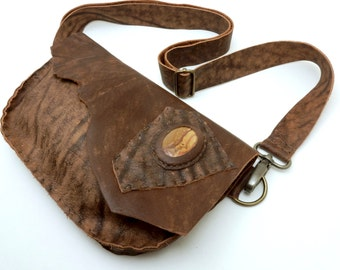Brown Leather Fanny Pack/Purse with Jasper Cabochon