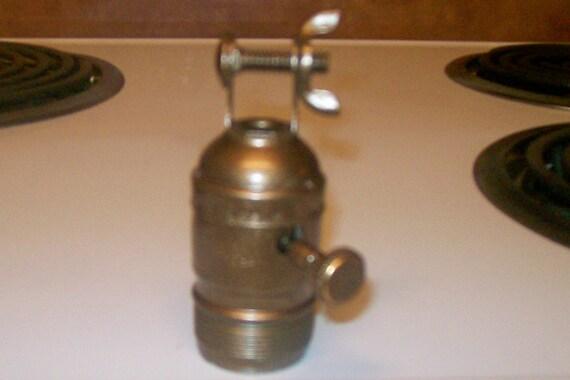 Lamp part metallic bronze socket w wing nut from litup u