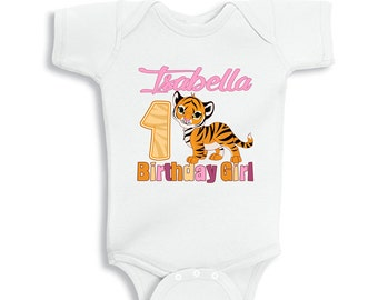 Personalize Tiger Birthday Girl baby bodysuit or Kids Shirt