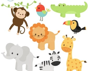 Baby Safari Animals Clipart Set - clip art set of monkey, giraffe, lion, elephant - personal use, small commercial use, instant download