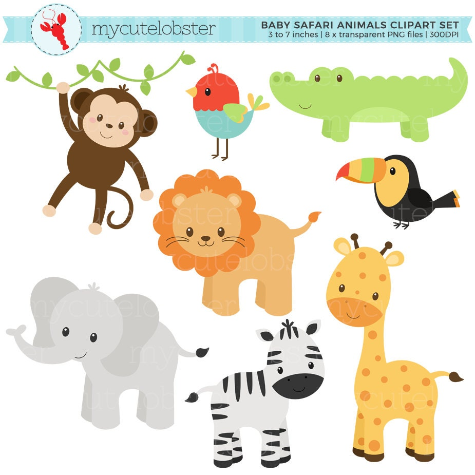 Baby Safari Animals Clipart Set clip art set of monkey