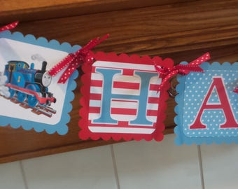 Thomas the Train Birthday Banner, Blue Red White thomas Banner, Happy Birthday Banner, Boy Thomas the Train Birthday Decorations