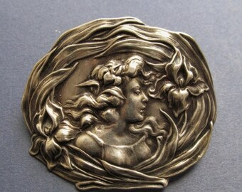 On Sale Art Nouveau Sterling Silver Brooch Unger Brothers Lady With Lilies Antique Pin Jewelry