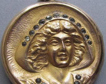 On Sale Art Nouveau Locket Pendant Gold Filled Lady With A Hat  S. & B. Lederer Co. Circa 1915
