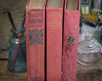 Set of Three Hard Cover Antique Books, Shabby Decor, Display, Collection, Photo Props, Red, Mark Twain