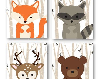 Forest Animal Prints, Animal Nursery Art, Woodland Nursery Decor, Baby Room Decor, Fox Deer Raccoon and Bear