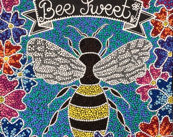 "Bee Painting | 12X12 | Wall Art | Home Decor | Acrylic | ""Bee Sweet"" 